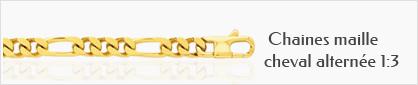 collection de chaines de cou en or 18 carats maille cheval alternée 1:3 pour femmes