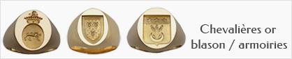 collection de chevalières héraldiques en or pour femmes