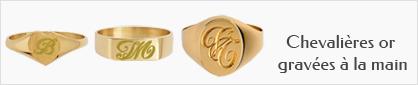 collection de chevalières en or avec gravure à la main personnalisable pour femmes