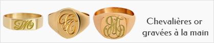 Collection de chevalières en or avec gravure à la main pour hommes