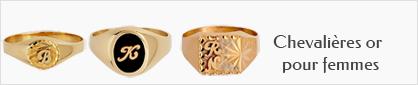 collection de chevalières personnalisables en or pour femmes