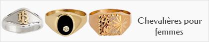 Collection de chevalières personnalisables en or ou en argent pour femmes
